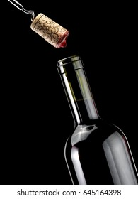 Opening a red wine bottle, close up
