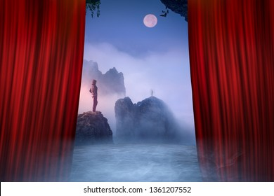 Opening scene on the theater stage with lone woman standing on cliff and contemplating beautiful mountains peaks at spooky moonlight.