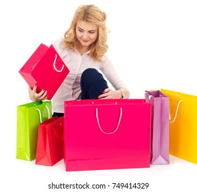 Opening the shopping bags