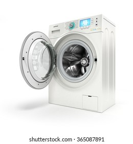 Opening washing machine on white background
