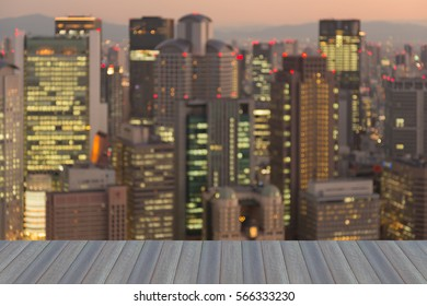 Opening wooden floor, abstract blurred lights Kyoto city business downtown, abstract background