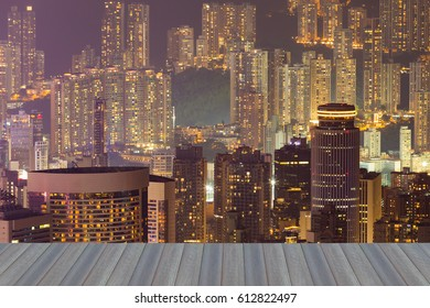 Opening wooden floor, Hong Kong city residence area night view, cityscape downtown background