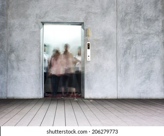 openning door of elevator and people walk out