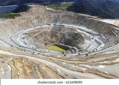open-pit copper mine view in indonesia