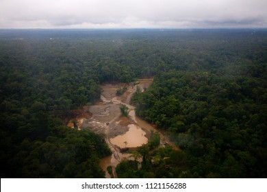 Open-pit gold mines near Quibdó, Chocó, Colombia.