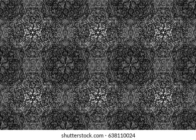 Openwork delicate white pattern. Brilliant lace, stylized flowers, paisley. Oriental style arabesques. Raster art. Seamless white texture curls. Seamless pattern on gray background with white elements