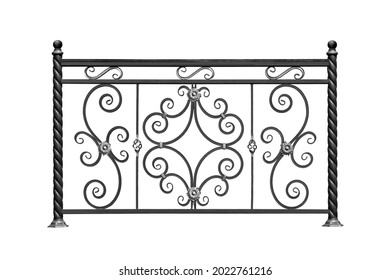 Openwork forged fence. Isolated over white background.