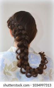 Openwork French braid, hairstyle with long length of hair