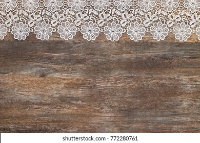 Openwork Lace White Border On Wooden Grey Rustic Background Text Place Copy Space