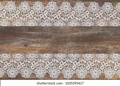 Openwork Lace White Frame On Wooden Grey Brown Rustic Background Text Place Copy Space