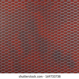 Openwork mesh, perforated metal front panel, with round holes and red color burning hot iron and gray textured background with dimmed regions
