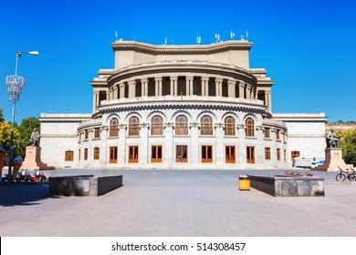 Opera and Balet National Academic Theater, monuments of Aram Khachaturian and Alexander Spendiaryan in Yerevan, Armenia.