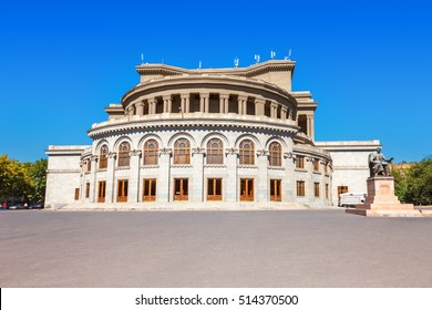 Opera and Ballet National Academic Theater, monuments of Aram Khachaturian and Alexander Spendiaryan in Yerevan, Armenia.