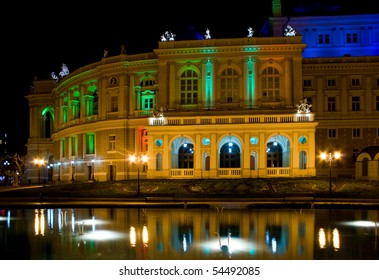 Opera And Ballet Theater of Odessa at night