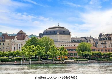 Opera house at Limmat River Quay in Zurich, Switzerland