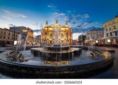 Opera House in Lviv, Ukraine, August, 2016.