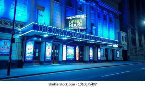 Opera House in Manchester by night - MANCHESTER / ENGLAND - JANUARY 1, 2019