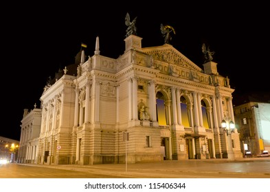 Opera House at the night in Lvov , Ukraine