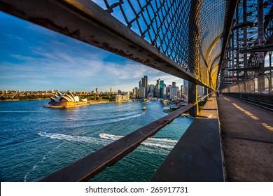 Opera house on walking way on the harbor bridge, Sydney, Australia.