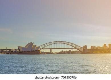 OPERA HOUSE, SYDNEY, AUSTRALIA - DECEMBER, 2016 : View of Sydney opera house at sunset, Blue sky