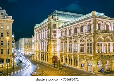 Opera house in Vienna at night, Austria