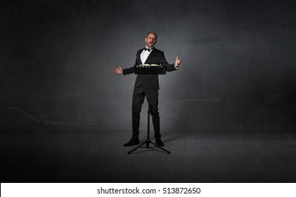 opera singer with lectern, dark background
