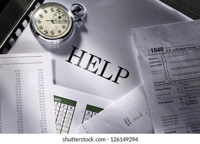 Operating budget, stopwatch and calendar