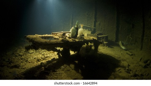 The operating table in the sick bay of the Shinkoku Maru, a Japanese cargo ship sunk during World War II.