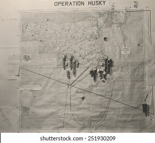 Operation Husky battle plan for the invasion of Sicily in the White House Map Room. August 1943, World War 2.