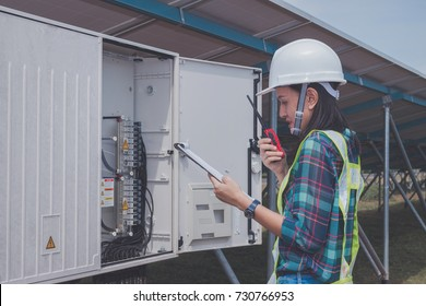 operation and maintenance in solar power plant ; engineer working on checking and   daily maintenance in solar power plant ,solar power plant to innovation of green energy for life