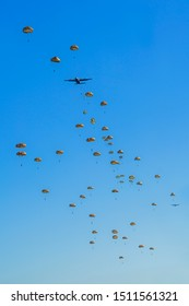 Operation Market Garden 2019, 75 year commemoration  Dropping paratroopers over the Ginkelse Heide Ede, 21 september 2019, in the Netherlands. Holland commemorates the victims of WWII.