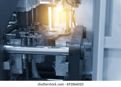 The operation of PET bottle or plastic bottle  blowing machine with lighting effect
