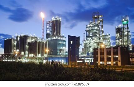 Operational petrochemical plant in twilight (Anwerp port, Belgium)