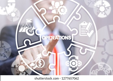 Operations business success work concept. Businessmen clicks a operations word button on a virtual puzzle screen.