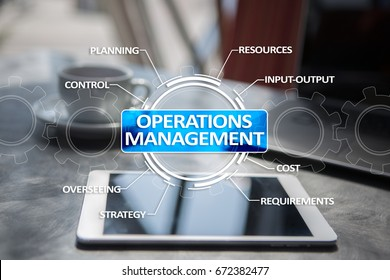 Operations management business and technology concept on virtual screen.