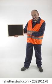operator with blackboard