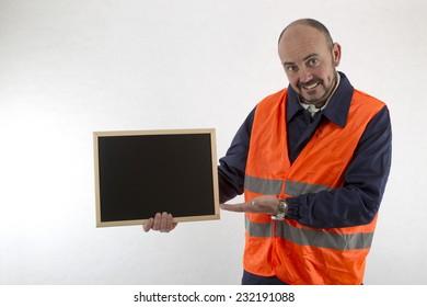 operator showing whiteboard