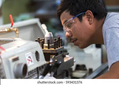 Operator use machine production in the industry