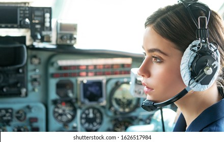 Operatore in avia company persons crew pilots stewardess airplane command civil aviation. Young friendly operator woman agent with headsets working in a avia call centre