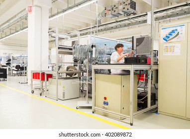 Operators in sterile environment during high-tech cable module and cable sensors and high-end technology production, Sofia, FESTO Bulgaria, September 11, 2015.