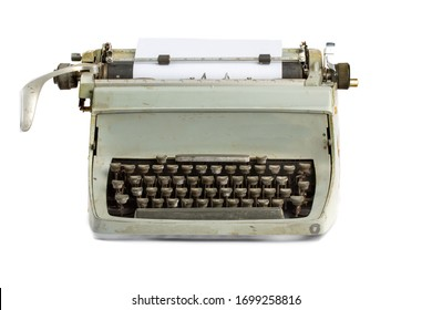 operator's view of a grungy old reporter's manual typewriter isolated on white