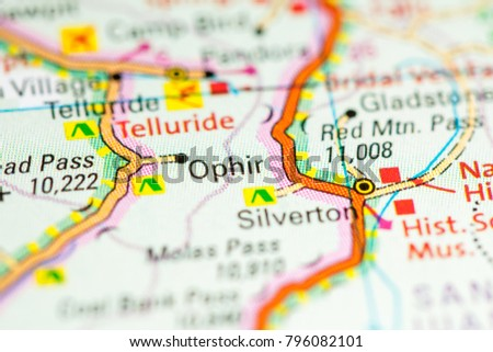 Colorado In Usa Map.Ophir Colorado Usa On Map Stock Photo Edit Now 796082101
