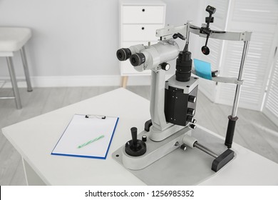 Ophthalmic slit lamp at children's doctor office