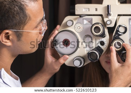 3bf76eb74ea Ophthalmologist Changing Settings Eye Test Machine Stock Photo (Edit ...