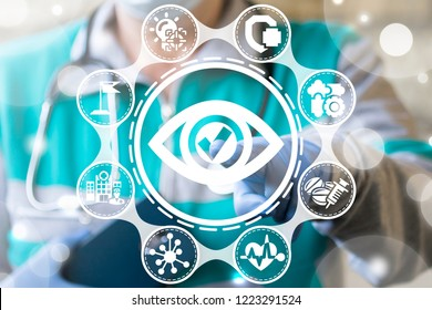 Ophthalmologist or doctor push a eye check button on a virtual screen. Medicine Vision. Healthcare approved, confirm, done, tick, completed. Ophthalmology Exam Success.