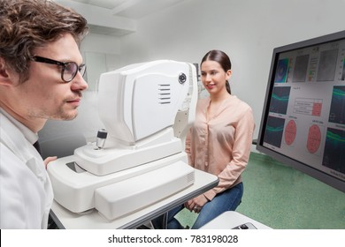 Ophthalmologist in eyes clinic  examine Retinal Visual Function with a OCT SLO machine