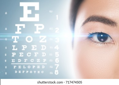 Ophthalmology - Asian woman and eye chart for sight test.