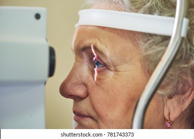 ophthalmology. eyesight check of adult female woman