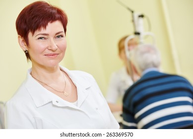 Ophthalmology. portrait of female optometrist optician doctor in eye correction medic clinic