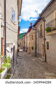 Opi, Italy - 14 July 2019 - The little and suggestive stone town on the hill, in the heart of National Park of Abruzzo, Lazio and Molise. Here a view of historic center during the summer.